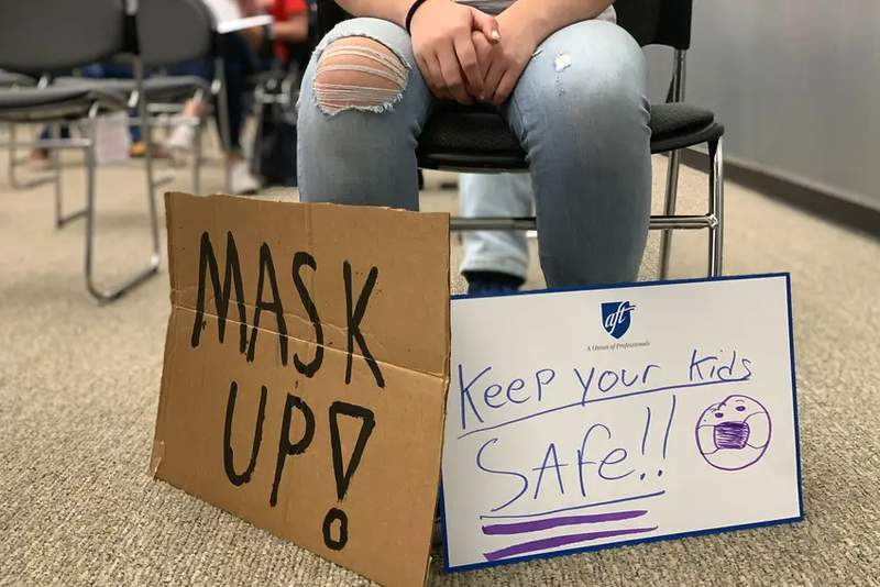 Parents were sharply divided at a recent Comal Independent School District board meeting to discuss requiring masks in schools. Credit: Bekah McNeel/The 74 Million
