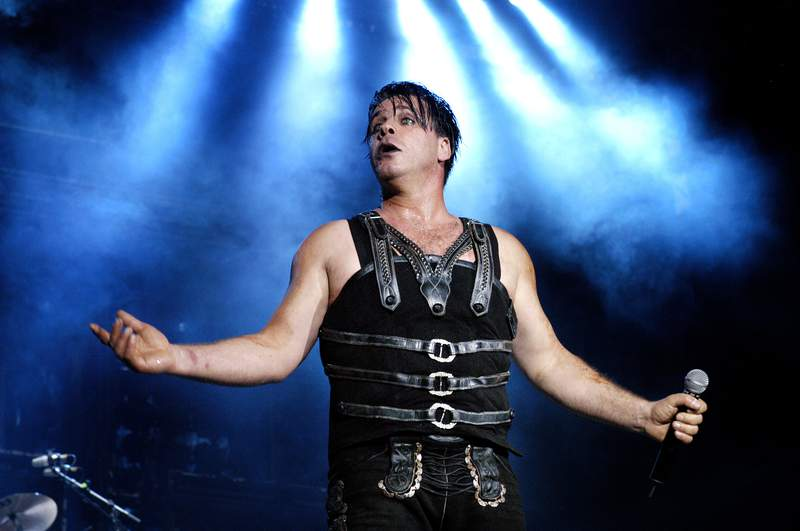 Till Lindemann from Rammstein performs live on stage at The Fields of Rock Festival at Nijmegen, Holland on June 18 2005.