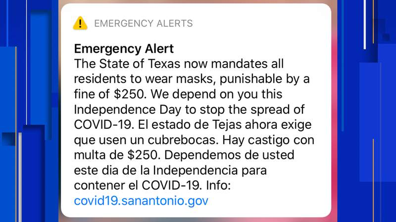The City of San Antonio has issued an alert to inform residents that the governor's mask mandate is now in effect.