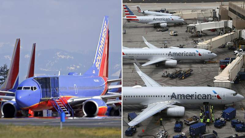 FILE PHOTOS - (Left) Southwest Airlines airplanes sit parked Tuesday, April 7, 2020, at Paine Field airport in Everett, Wash. (AP Photo/Ted S. Warren); (Right) In this July 17, 2019 file photo American Airlines planes are parked on the tarmac at Phoenix Sky Harbor International Airport in Phoenix. (AP Image)