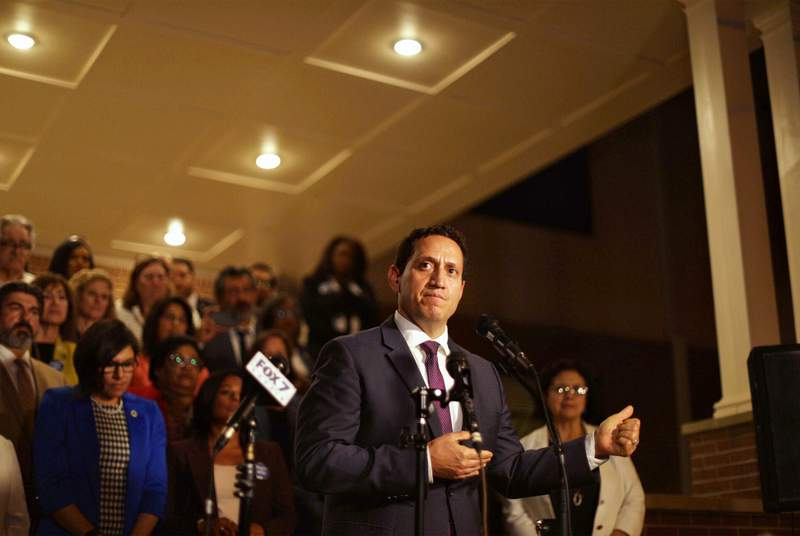 State Rep. Trey Martinez Fischer, D-San Antonio, speaks at a press conference at Mt. Zion Baptist Church near the state Capitol in Austin after Democrats broke quorum in opposition to Senate Bill 7, a sweeping GOP voting bill. May 30, 2021.