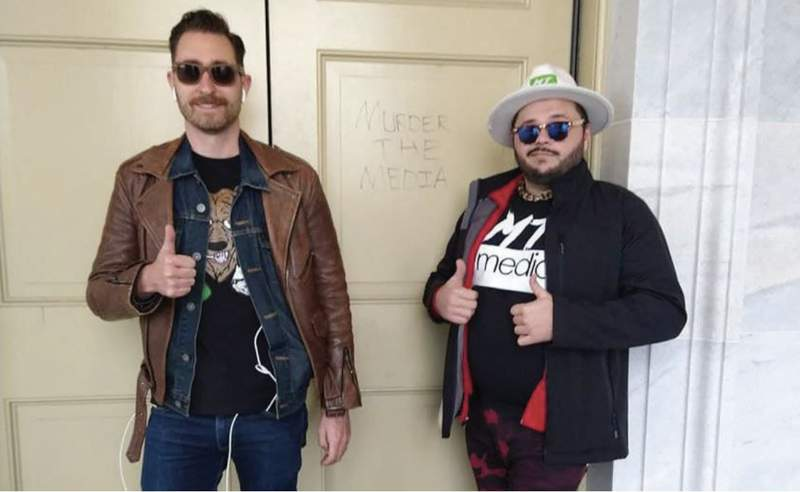 Nicholas DeCarlo (right) is seen with Nicholas Ochs, one of the founders of Hawaii's chapter of the Proud Boys, on Jan. 6, 2021, at the U.S. Capitol.