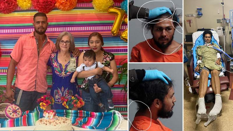 Left: Jorge Gonzalez Zuniga pictured with his family; Center: Zuniga's mugshots; Right: Zuniga at the hospital following his arrest.