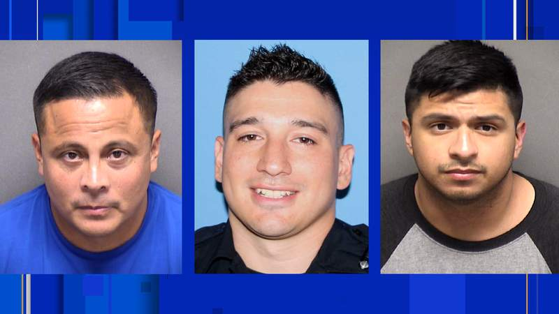 (From left) Pictured are fired SAPD officers Jose Hinojosa, Michael Brewer, and Jonathan Montalvo.