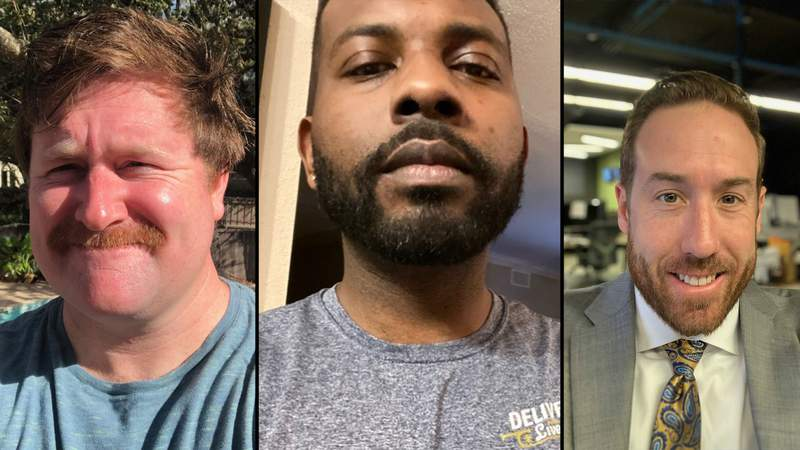 Dillon Collier, Deven Clarke and Justin Horne participating in No Shave November in 2020.
