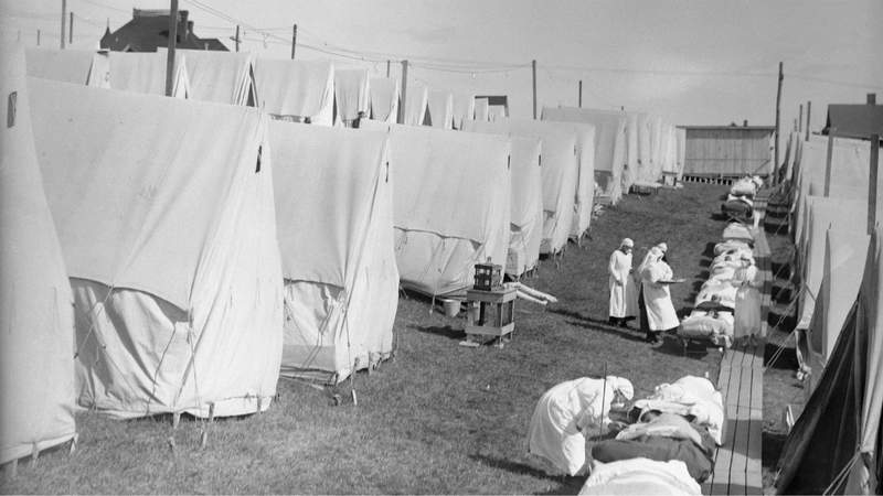 Scenes from a camp at Lawrence, Maine, where patients were given fresh air treatment during the Spanish flu.
