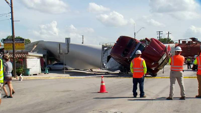 Screenshot of video showing the aftermath of a destructive crash in Luling involving a train and a semi-truck. (Courtesy of KTBC News)