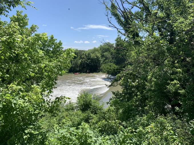 A person drowned after falling off of a raft in the Colorado River in East Austin on Sunday, according to Travis County EMS officials.