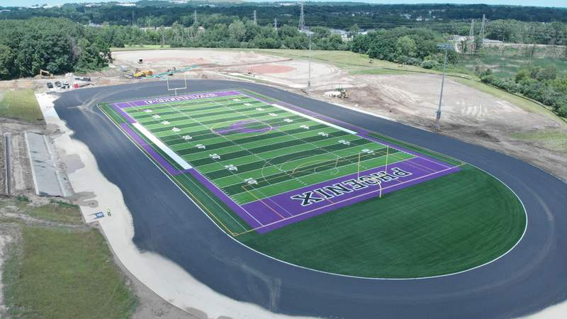 Construction of the brand new football complex at Pontiac High School is nearly complete. Courtesy photo/ Heidi Hedquist