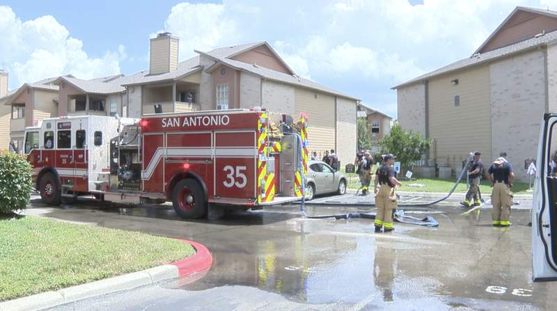 San Antonio firefighters respond to a fire on Wednesday, June 30, 2021, at an apartment complex in the 3200 block of Timber View Drive.