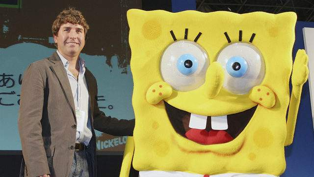 Stephen Hillenburg, the writer of a U.S. cartoon 'The SpongeBob SquarePants' poses with its charactor SpongeBob SquarePants at an event held at Tokyo International Anime Fair on March 23, 2006 in Tokyo, Japan.