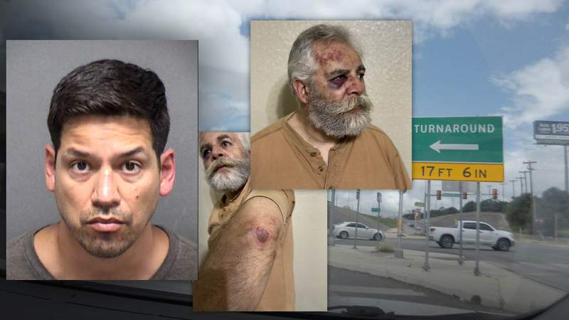 SAPD officer Dezi Rios (left) is accused of assaulting Ara Halibian (center) late Monday night.