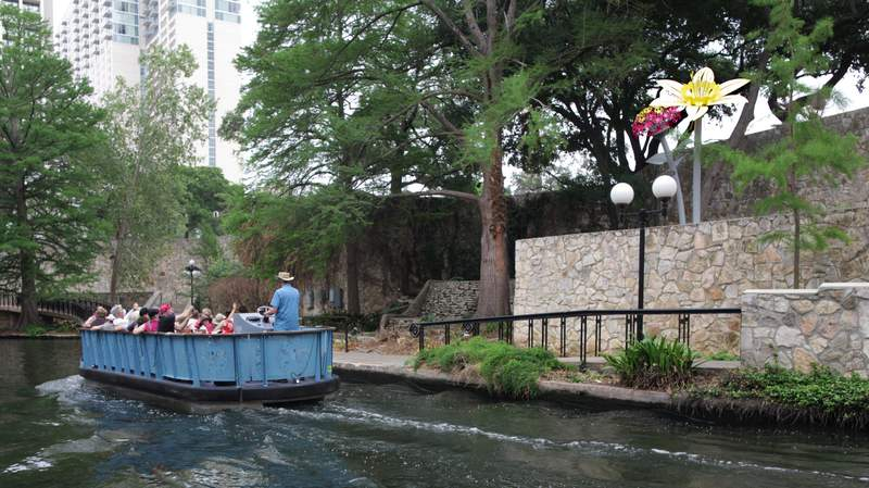 """Local artist Leticia Huerta's sculptures from the """"Bloom"""" art series are located on the River Walk."""