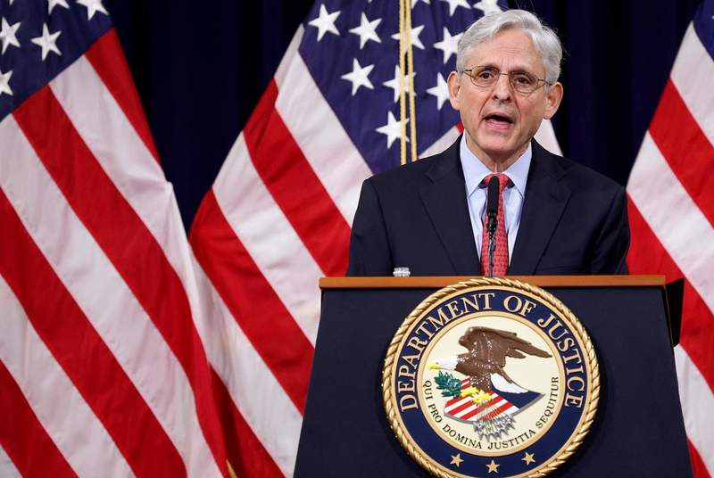 U.S. Attorney General Merrick Garland speaks during an event at the Justice Department in Washington, U.S., on June 15, 2021.
