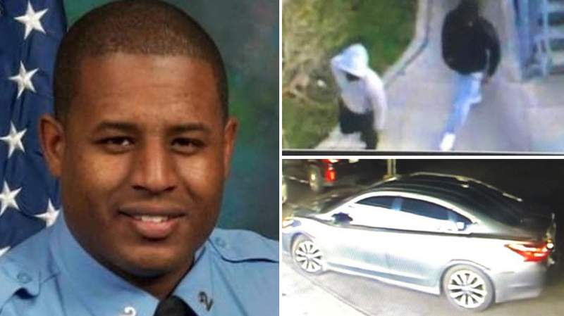 New Orleans police officer Everett Briscoe, a 13-year law enforcement veteran, was killed Saturday, Aug. 21, 2021, in a Galleria-area restaurant. Police said two men (top right) are accused in the fatal shooting. They fled in a Nissan Altima with paper plates.