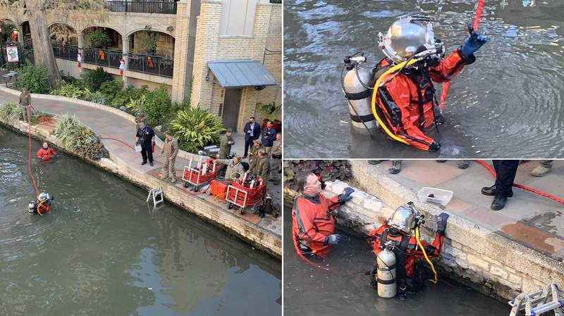 A gun that was allegedly used during a shooting at the downtown Whataburger last week was recovered by divers in the River Walk portion of the San Antonio River. Images: SAPD