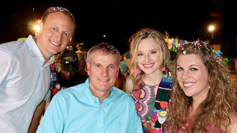 Adam Caskey, David Sears, Sarah Spivey, Myra Arthur at the 2019 Cavaliers River Parade.
