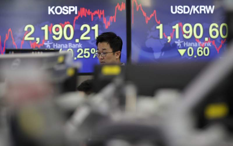 A currency trader walks by screens showing the Korea Composite Stock Price Index (KOSPI), left, and the foreign exchange rate between U.S. dollar and South Korean won at the foreign exchange dealing room in Seoul, South Korea, Thursday, June 11, 2020. Asian shares were mostly lower Thursday, with Tokyo dropping more than 1% as the Japanese yen gained after the Federal Reserve said it would keep interest rates low through 2022. (AP Photo/Lee Jin-man)