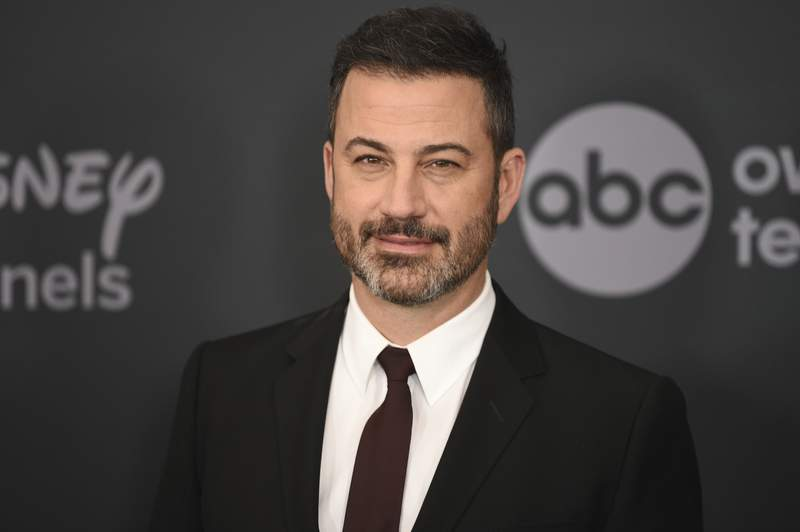 FILE - This May 14, 2019 file photo shows Jimmy Kimmel at the Walt Disney Television 2019 upfront in New York. Kimmel and former NASA engineer and YouTube Creator Mark Rober will host a three-hour-long livestream fundraiser for autism. (Photo by Evan Agostini/Invision/AP, File)