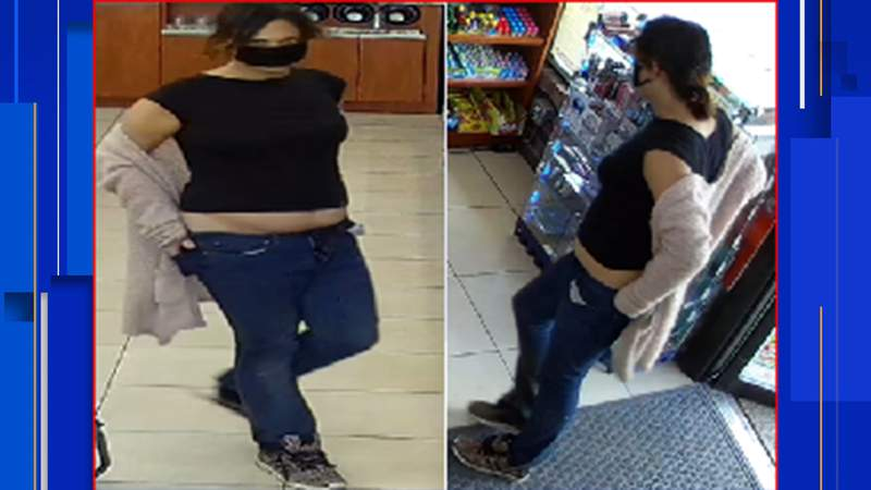 Crime Stoppers and police are searching for a woman accused of robbing the Max Mart on San Pedro Avenue. Image: Crime Stoppers