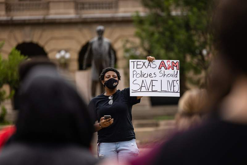 Texas A&M students gathered to protest a lack of protections against COVID-19 on campus in College Station on Sept. 14, 2021.