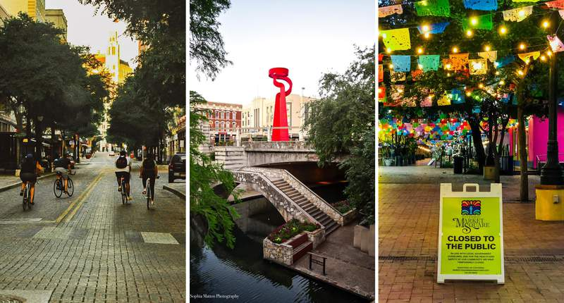 San Antonio photographer Sophia Mattos captured photos of an empty downtown on Saturday, April 18, 2020, which would have been the first Saturday of Fiesta if not for the coronavirus pandemic.