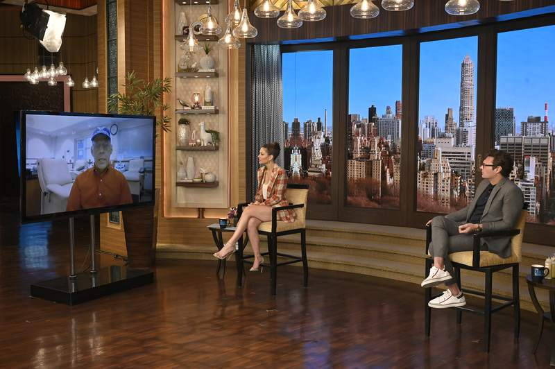 """Ryan Seacrest and Maria Menounos are pictured during the production of """"Live with Kelly and Ryan"""" in New York on Monday, March 22, 2021.Photo: David M. Russell/ABC Entertainment©2021 American Broadcasting Companies, Inc.  All Rights Reserved."""