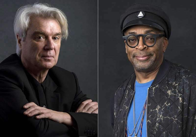 This combination photo shows musician David Byrne, left, and director Spike Lee. Lees filmed version of Byrnes American Utopia will kick off the 45th Toronto International Film Festival. The Canadian festival said Tuesday that American Utopia will premiere on September 10 in Toronto, even if it remains unclear if it will be a physical screening. That, the festival noted, will be contingent on the dictates of Ontario health officials. (AP Photo)