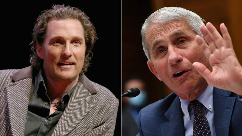 """Matthew McConaughey (left) participates in a Q&A after a special screening of his new film """"The Gentlemen"""" on Jan. 21, 2020 in Austin (Photo by Gary Miller/Getty Images); Dr. Anthony Fauci (right) testifies before a House Subcommittee on the Coronavirus Crisis hearing on July 31, 2020 in Washington, DC. (Photo by Kevin Dietsch-Pool/Getty Images)"""