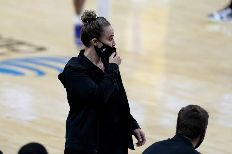 San Antonio Spurs assistant coach Becky Hammon leads the team in the second half against the Los Angeles Lakers in an NBA basketball game after coach Gregg Popovich was ejected, Wednesday, Dec. 30, 2020, in San Antonio. (AP Photo/Eric Gay)