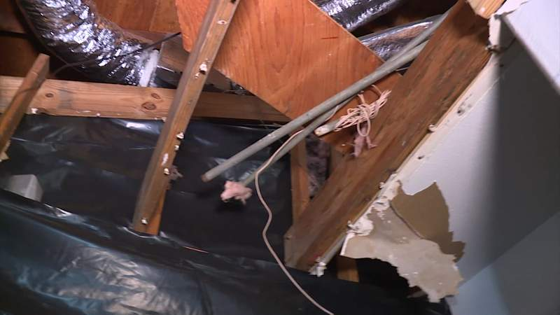 Damage from a burst pipe is seen at a Texas home in February 2021.