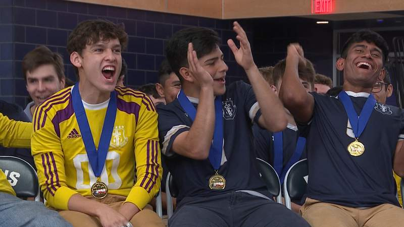 Central Catholic seniors (left to right) Alejandro Chavarria, Jose Gallegos and Christopher Rios-Cruz react to a replay of the championship-clinching goal, as the Buttons celebrate their fourth straight TAPPS State Title.