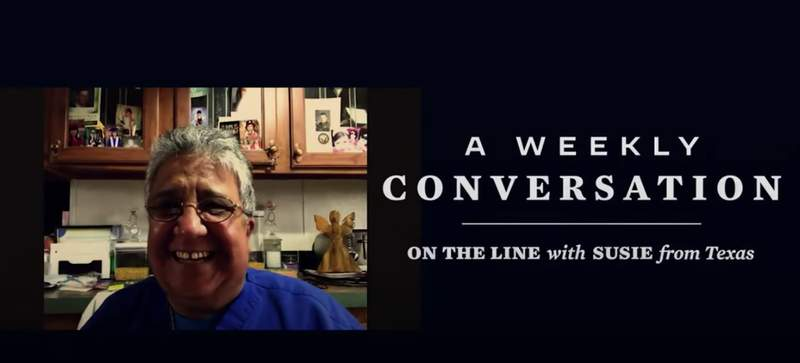 """""""A Weekly Conversation: On the Line with Susie from Texas,"""" screenshot."""