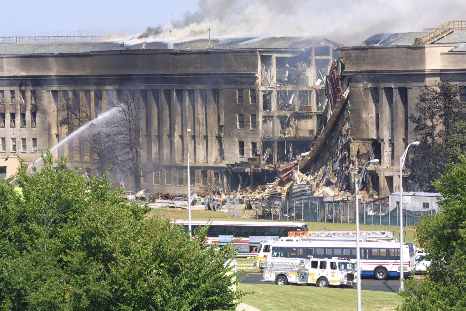 Smokecomes out from the Southwest E-ring of the Pentagon building Sept. 11, 2001 in Arlington, Va., after a plane crashed into the building and set off a huge explosion.