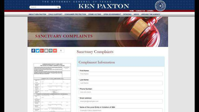 """The Texas Attorney General website has a page dedicated to """"sanctuary complaints."""""""