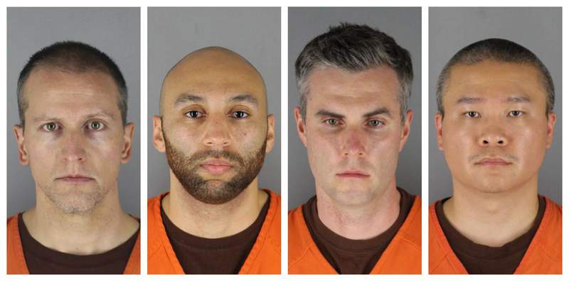 FILE - This combination of photos provided by the Hennepin County Sheriff's Office in Minnesota on Wednesday, June 3, 2020, shows from left, former Minneapolis police officers Derek Chauvin, J. Alexander Kueng, Thomas Lane and Tou Thao. The former Minneapolis police officers charged with violating George Floyd's civil rights are scheduled to be arraigned in federal court Tuesday, Sept. 14, 2021. (Hennepin County Sheriff's Office via AP File)