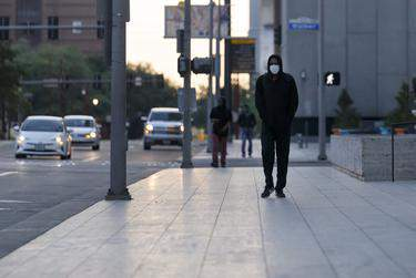 The streets of downtown Houston during the coronavirus pandemic. (Michael Stravato for The Texas Tribune)