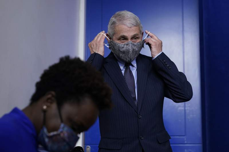 Dr. Anthony Fauci, director of the National Institute of Allergy and Infectious Diseases, puts his face mask back on after speaking with reporters in the James Brady Press Briefing Room at the White House, Thursday, Jan. 21, 2021, in Washington. (AP Photo/Alex Brandon)