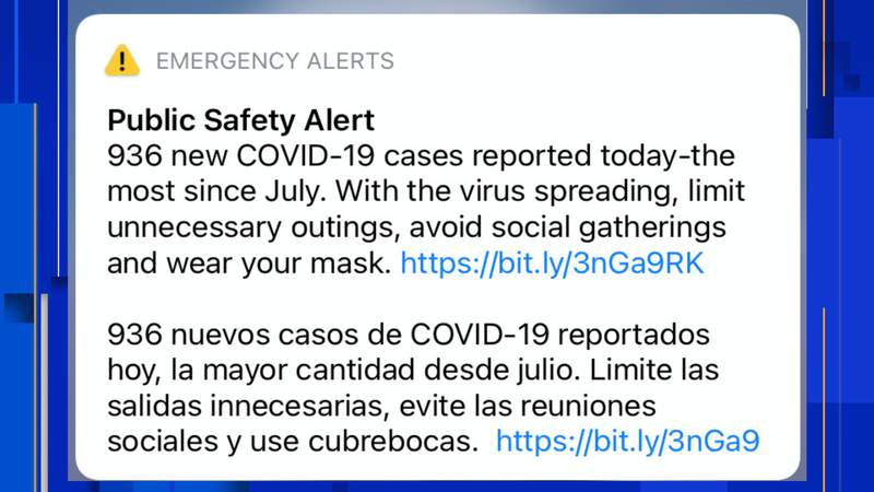 San Antonio and Bexar County officials deployed an emergency alert to cell phones of residents after the city reported its highest number of coronavirus cases since July on Friday.