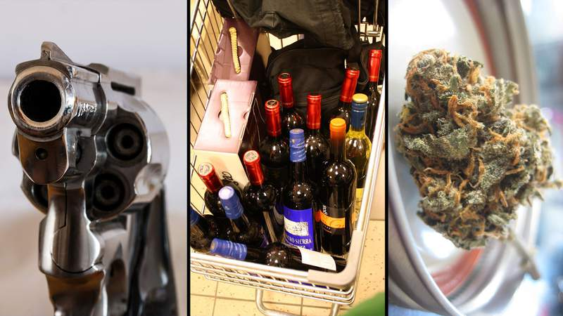 From left to right the photos show a pistol,  a shopping cart full of wine and marijuana. The photo of the wine is from Flickr user LexnGer. The other photos are from Pixabay.