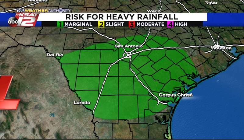 Thursday's risk for heavy rainfall image.