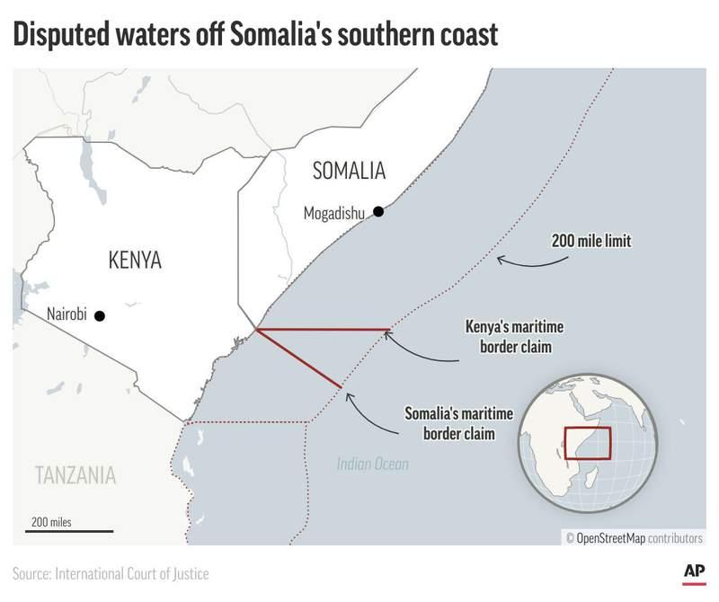 Map shows the Kenya-Somalia coastline and disputed area.