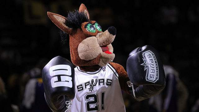 The Coyote mascot of the San Antonio Spurs during play against the Los Angeles Lakers at AT&T Center on December 28, 2010 in San Antonio, Texas.