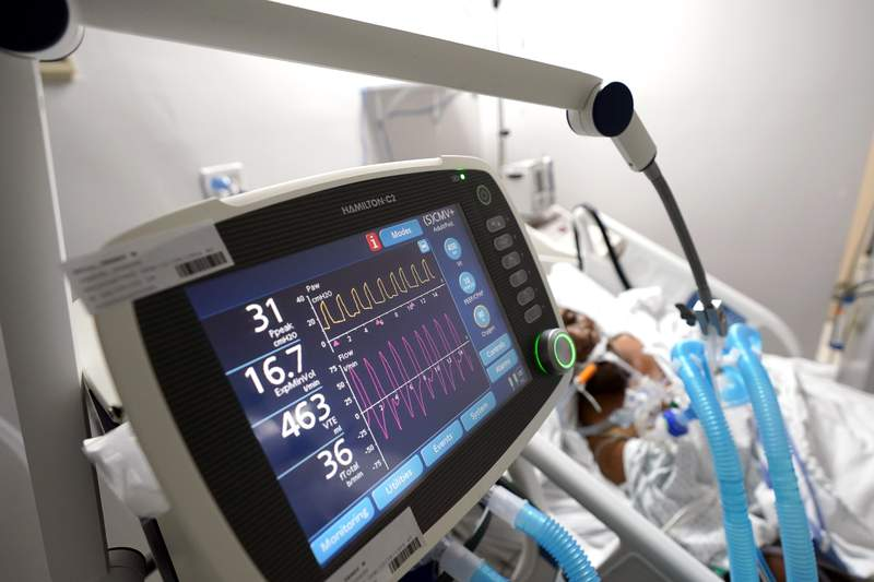 FILE - In this July 6, 2020, file photo, a ventilator helps a COVID-19 patient breath inside the Coronavirus Unit in a Houston hospital. (AP Photo/David J. Phillip, File)