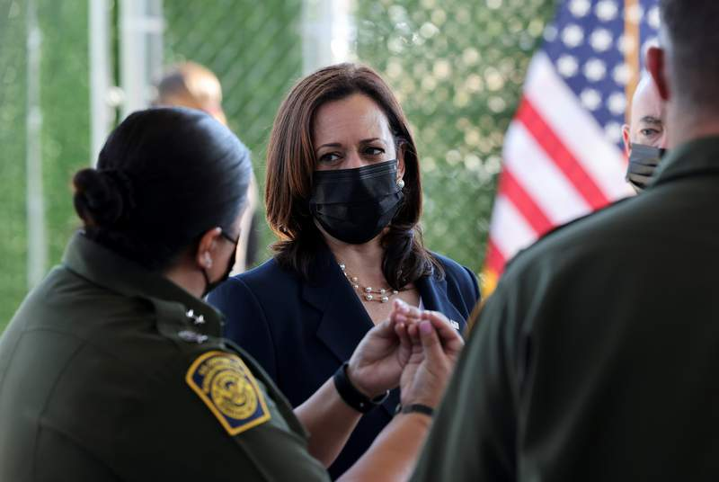 U.S. Vice President Kamala Harris spoke with members of the U.S. Border Patrol as she visited an El Paso central processing center on June 25, 2021.