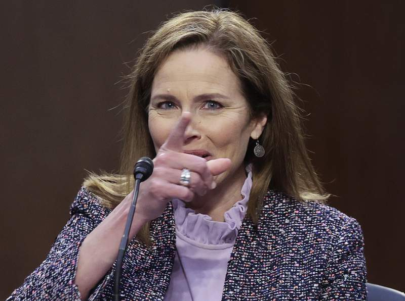 Supreme Court nominee Amy Coney Barrett testifies during the third day of her confirmation hearings before the Senate Judiciary Committee on Capitol Hill in Washington, Wednesday, Oct. 14, 2020. (Jonathan Ernst/Pool via AP)