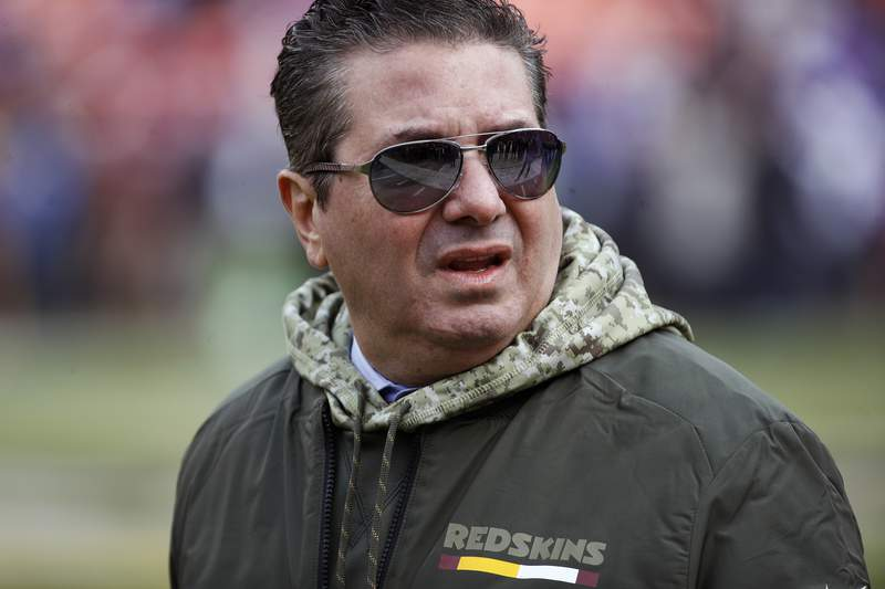 FILE - This Nov. 12, 2017, file photo shows Washington Redskins owner Dan Snyder walking across the field before an NFL football game against the Minnesota Vikings in Landover, Md. Snyder has hired a D.C. law firm to review the Washington NFL team's culture, policies and allegations of workplace misconduct. Beth Wilkinson of Wilkinson Walsh LLP confirmed to The Associated Press that the firm had been retained to conduct an independent review. (AP Photo/Patrick Semansky, File)