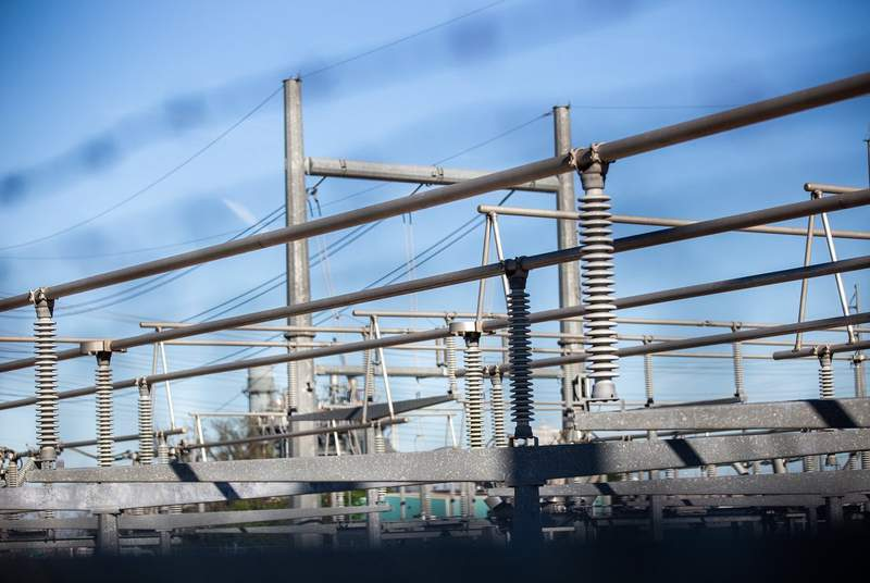 Details of electrical transformers at the Austin Energy/Sand Hill Energy Center in Del Valle on March 24, 2020.