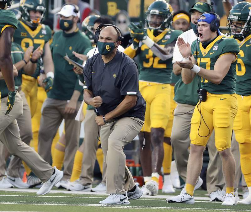 Baylor head coach Dave Aranda reacts as the defense stopped Kansas on fourth down in the first half of an NCAA college football game in Waco, Texas, Saturday, Sept. 26, 2020.