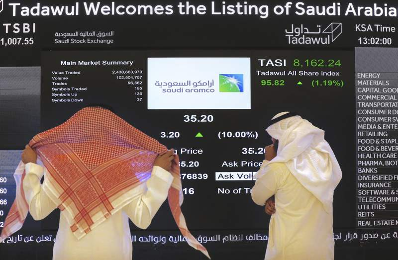 FILE - In this Dec. 11, 2019, file photo, Saudi stock market officials watch the stock market screen displaying Saudi Arabia's state-owned oil company Aramco after the debut of Aramco's initial public offering on the Riyadh's stock market in Riyadh, Saudi Arabia. Saudi Arabia's oil company Aramco reached a $2 trillion valuation as it hit near record levels on Wednesday, Oct. 6, 2021, during trading hours. (AP Photo/Amr Nabil, File)